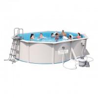 Стальной овальный бассейн 500х360x120 см с песочным фильтром Bestway Hydrium