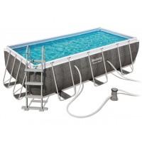 Прямоугольный каркасный бассейн ротанг Bestway 412х201х122Power Steel +фильтр-насос, лестница