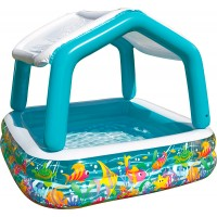 Детский надувной круглый бассейн с навесом Intex