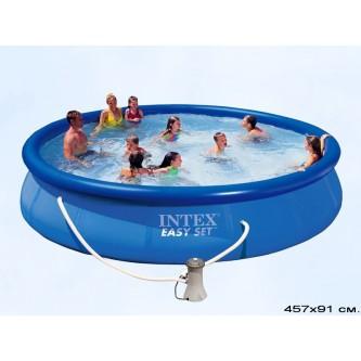 Бассейн c надувным кольцом Intex Easy Set  457Х91 (фильтр-насос)
