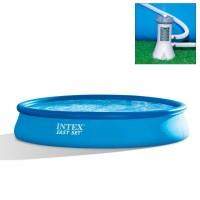 Бассейн бескаркасный с надувным кольцом Intex Easy Set 457x84 +насос