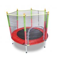 Батут детский каркасный с защитной сеткой URM, красно-зеленый, 1.4 м