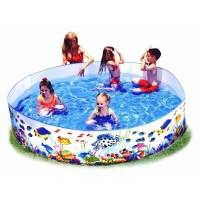 Детский бассейн с плоским бортом 183х38 см Рыбки